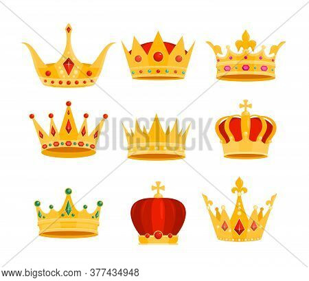 Golden Crown Vector Illustration Set. Cartoon Flat Gold Royal Medieval Collection Of Monarchy Symbol