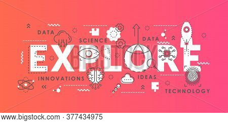 Explore Word Abstract Thin Line Vector Illustration. Flat Lineart Horizontal Infographic Banner Desi