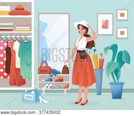 Fashion Woman Flat Vector Illustration. Cartoon Young Lady Standing By Mirror, Female Character Dres