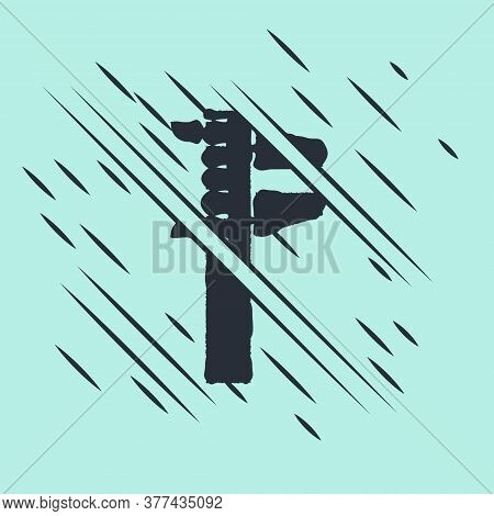Black Calliper Or Caliper And Scale Icon Isolated On Green Background. Precision Measuring Tools. Gl