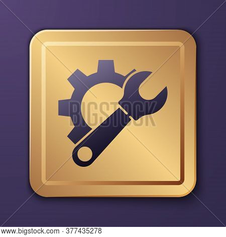 Purple Wrench Spanner And Gear Icon Isolated On Purple Background. Adjusting, Service, Setting, Main