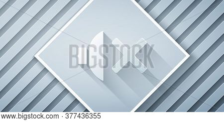 Paper Cut Speaker Mute Icon Isolated On Grey Background. No Sound Icon. Volume Off Symbol. Paper Art