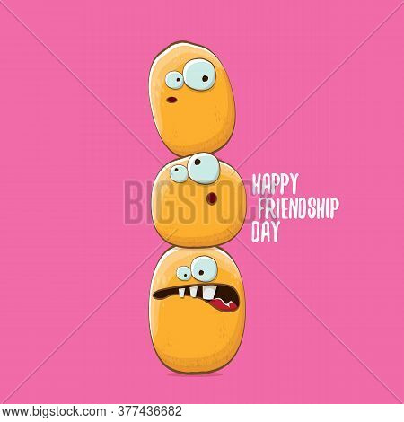 Vector Friends Potato Characters Having Fun Isolated On Pink Background. Happy Friendship Day Vector