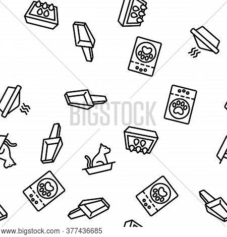 Pet Litter Accessory Vector Seamless Pattern Thin Line Illustration