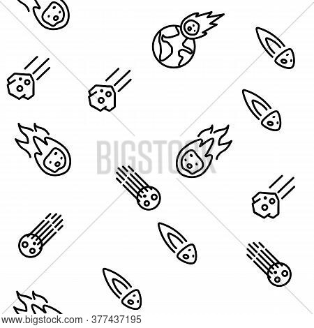 Meteor Cosmic Body Vector Seamless Pattern Thin Line Illustration