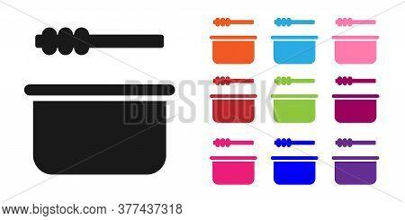Black Sauna Bucket And Ladle Icon Isolated On White Background. Set Icons Colorful. Vector Illustrat