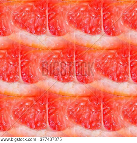 Natural Background With Ecologic Citric Fruits In Seamless Pattern
