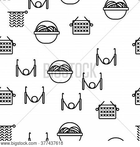 Yarn Ball For Knitting Vector Seamless Pattern Thin Line Illustration