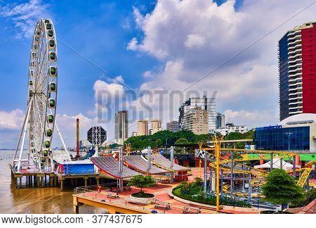 Guayaquil , Ecuador- March 7 , 2020 : funfair amusement park of the Malecon 2000