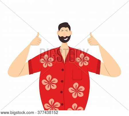 Happy Man In A Red Hawaiian Shirt Show Thumbs Up. Holidays In The Hawaiian Islands. The Concept Of E