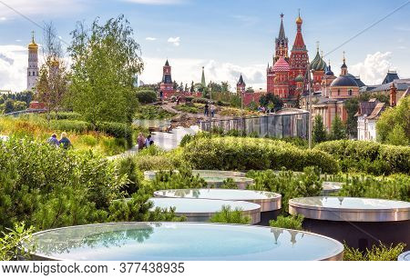 Urban Landscape Of Moscow, Russia. Landscaped Design In Zaryadye Park Near Moscow Kremlin, Beautiful