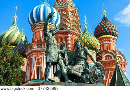 Monument To Minin And Pozharsky By St Basil`s Cathedral In Moscow, Russia. Old Saint Basil`s Church