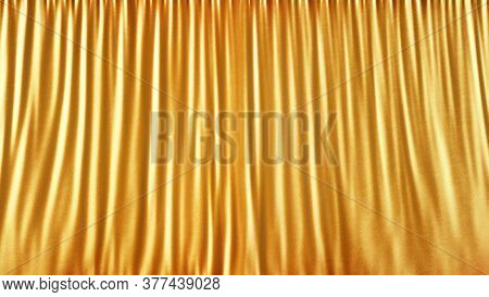 Elegant Gold Stage Cloth Curtain Abstract Background. Gold Satin Or Silk Background. Light Gold Fabr