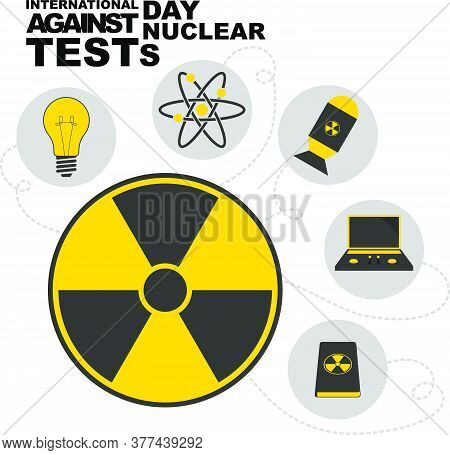 International Day Against Nuclear Test With Science And Nuclear Technology Icon Design.