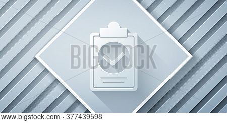 Paper Cut Verification Of Delivery List Clipboard Icon Isolated On Grey Background. Paper Art Style.