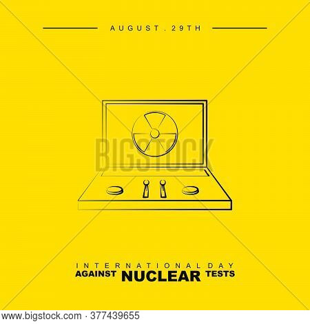 International Day Against Nuclear Test With Line Art Design Of Nuclear Briefcase Vector Illustration