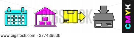 Set Calendar, Warehouse, Carton Cardboard Box And Carton Cardboard Box Icon. Vector