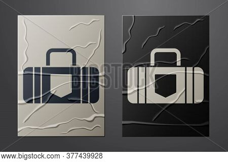 White Suitcase For Travel Icon Isolated On Crumpled Paper Background. Traveling Baggage Sign. Travel