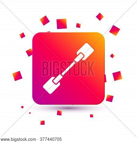 White Paddle Icon Isolated On White Background. Paddle Boat Oars. Square Color Button. Vector Illust