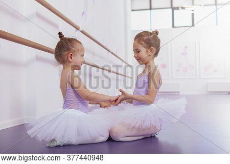 Two Adorable Little Ballerinas At Dance Class