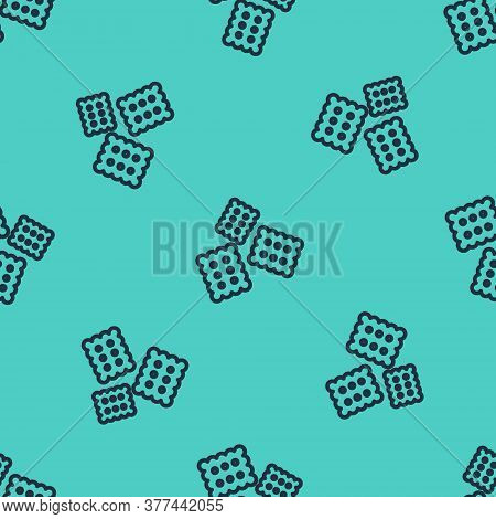 Black Line Cracker Biscuit Icon Isolated Seamless Pattern On Green Background. Sweet Cookie. Vector