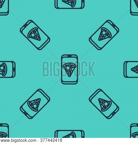 Black Line Food Ordering Pizza Icon Isolated Seamless Pattern On Green Background. Order By Mobile P