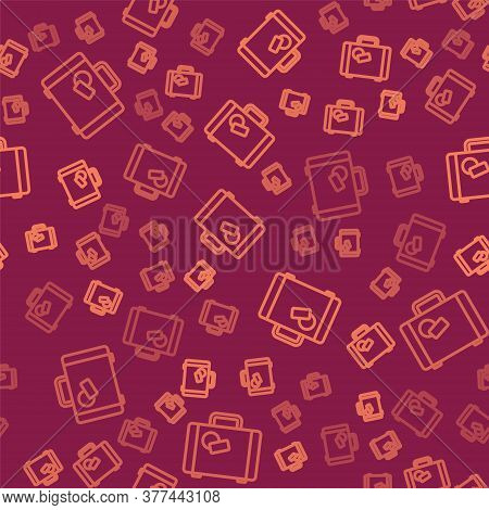 Brown Line Suitcase For Travel Icon Isolated Seamless Pattern On Red Background. Traveling Baggage S