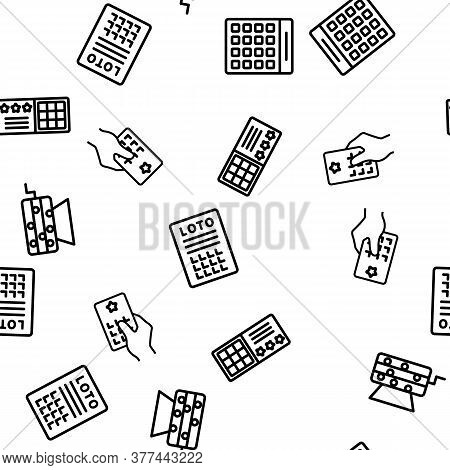 Raffle Gamble Lottery Vector Seamless Pattern Thin Line Illustration