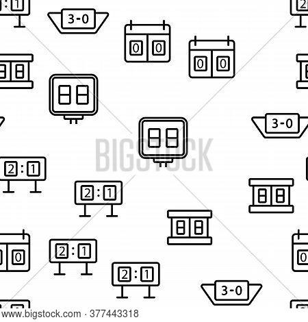 Scoreboard Game Tool Vector Seamless Pattern Thin Line Illustration