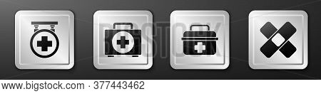 Set Hospital Signboard, First Aid Kit, First Aid Kit And Crossed Bandage Plaster Icon. Silver Square