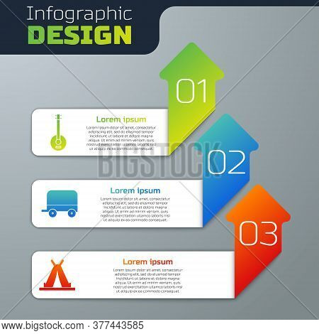 Set Banjo, Wild West Covered Wagon And Indian Teepee Or Wigwam. Business Infographic Template. Vecto