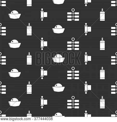 Set Firework, Firework, Sushi And Decree, Paper, Parchment, Scroll On Seamless Pattern. Vector