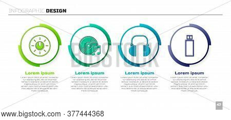 Set Dial Knob Level Technology Settings, Vinyl Disk, Headphones And Usb Flash Drive. Business Infogr