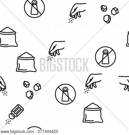 Salt Flavoring Cooking Vector Seamless Pattern Thin Line Illustration