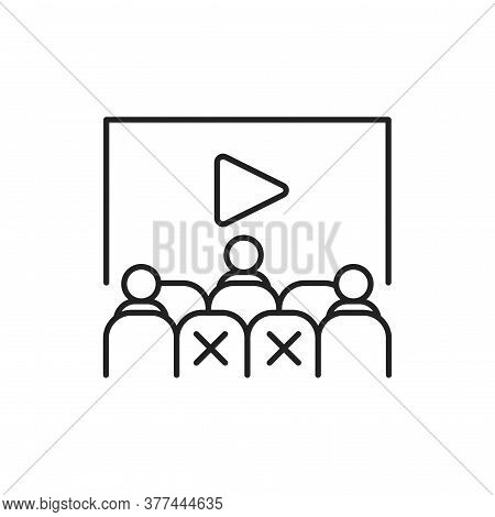 People Sitting In Cinema Hall Black Line Icon. Safe Travel. Pictogram For Web, Mobile App, Promo. Ui