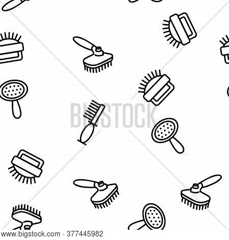 Grooming Brush For Pet Vector Seamless Pattern Thin Line Illustration