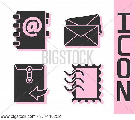 Set Postal Stamp, Address Book, Envelope And Envelope Icon. Vector