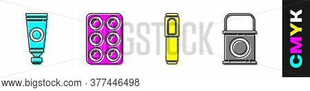 Set Tube With Paint Palette, Watercolor Paints In Box, Marker Pen And Paint Bucket Icon. Vector