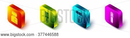 Set Isometric Paint, Gouache, Jar, Dye, Paint Brush, Paint Roller Brush And Marker Pen Icon. Vector