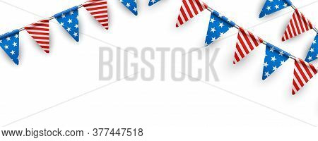 American Triangle Flags Banner Background. Blue Flags With White Stars And Red Flags With White Stri