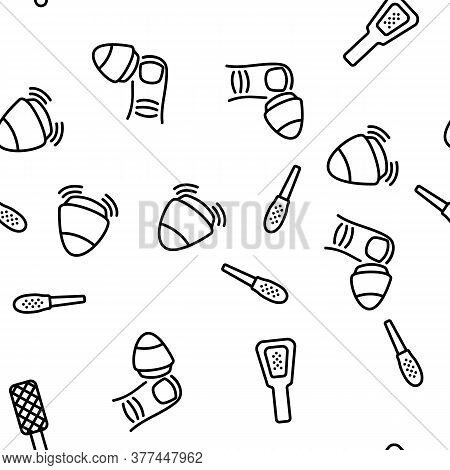 Callus Remover Tool. Foot Rasp For Treatment Of Hard Skin Vector Seamless Pattern Thin Line Illustra