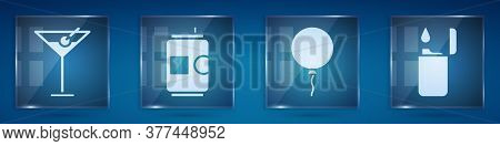 Set Martini Glass, Beer Can, Balloon With Ribbon And Lighter. Square Glass Panels. Vector
