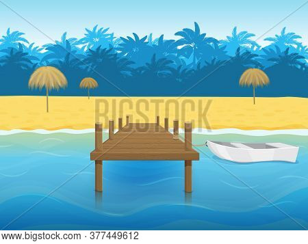 Tropical Landscape With Palm Trees, A Beach And A Marina With A Boat. Paradise Island. Blue Sea. Car