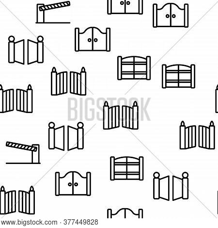 Gate Entrance Tool Vector Seamless Pattern Thin Line Illustration