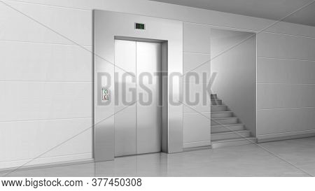 Lift Door And Stairs In Lobby. Elevator With Closed Metal Gates, Buttons And Stage Number Panel. Bui