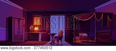 Luxury Old Bedroom Interior At Night. Empty Dark Room With Wooden Furniture And Gold Decoration, Bed
