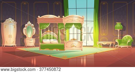 Luxury Bedroom Interior With Furniture In Romantic Style. Vector Cartoon Illustration Of Vintage Bar