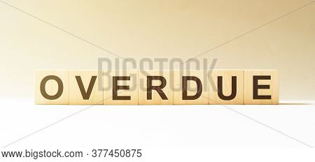 Word Overdue Made With Wood Building Blocks