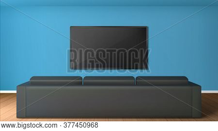 Empty Living Room With Tv Screen On Wall And Rear View To Black Sofa. Vector Realistic Interior Of M
