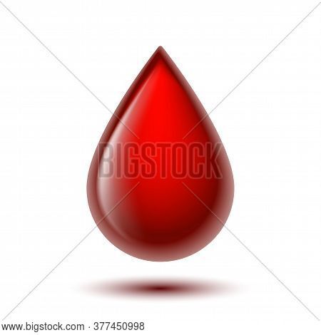 Red Shiny Drop Of Blood Isolated On White Background.